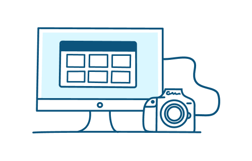 Illustration of camera connected to a desktop uploading photos to a gallery