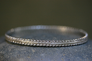 Recycled Platinum Laurel Leaf Bangle with Ethically Sourced Diamonds, leaf, leaves, nature