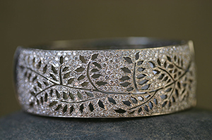Recycled Platinum Pave Reverso Fern Bracelet with Ethically Sourced Diamonds, cut out, leaves, leaf, nature, organic