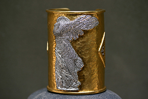 22K Recycled Gold and Platinum Winged Victory Cuff with Ethically Sourced Diamonds, hammered, mixed metal, pave, medieval, cut out
