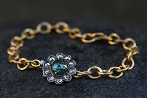 22K Recycled Gold and Blackened Platinum Lace Edge Clasp Bracelet with Ethically Sourced Green Tourmaline and Diamonds, mixed metal, flex, link, colored stone, colored, hammered