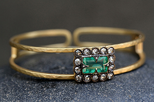 22K Recycled Gold Blackened Lace Edged Double Bracelet with Ethically Sourced Emerald and Diamonds, cuff, hammered, blackened, colored stone, colored