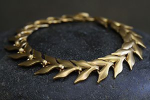 22K Recycled Gold Flexible Wheat Bracelet, link, flex, leaves, leaf, nature, organic