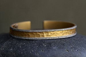 22K Recycled Gold and Platinum Pave Edge Hammered Cuff with Ethically Sourced Diamonds, mixed metal