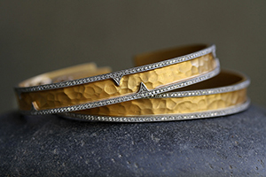 22K Recycled Gold and Platinum Pave Thorn Edge Hammered Cuff Set with Ethically Sourced Diamonds, mixed metal