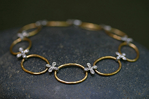 22K Recycled Gold and Platinum Flower and Hammered Link Bracelet with Ethically Sourced Diamonds, link, flex, mixed metal, petal, organic, nature, hammered