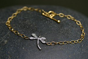22K Recycled Gold and Platinum Dragonfly Bracelet with Ethically Sourced Diamonds, flex, link, mixed metal, nature, insect
