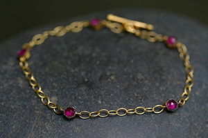 22K Recycled Gold Hexagonal Bezel Bracelet with Rubies, link, flex, geo, hex, colored stone, colored, ruby