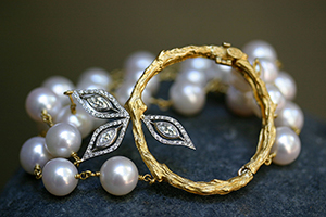 22K Recycled Gold and Platinum Marquise Bamboo Wreath Bracelet with Ethically Sourced Pearls and Diamonds, yellow, mixed metal, beads, leaf, leaves, branch