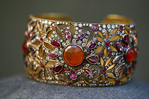22K Recycled Gold Trail of Tears Cuff with Ethically Sourced Fire Opals, Rubies, Sapphires and Diamonds, lace, cutout, colored stone, nature, flowers, petals, colored, flower
