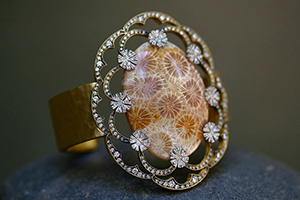 22K Recycled Gold and Platinum Blackened Fossilized Coral Bracelet with Ethically Sourced Diamonds, cuff, fossil, organic, mixed metals, nature, one-of-a-kind, flower, hammered, colored stone, one of a kind, colored, flower