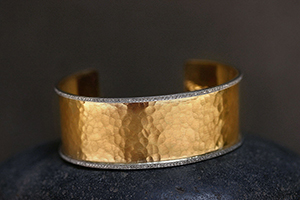 22K Recycled Gold and Platinum Wide Hammered Cuff With Diamond Pave Edging, mixed metal