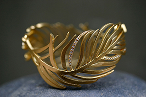 22K Recycled Gold Feather Bracelet with Ethically Sourced Diamonds, organic, nature, bird
