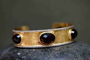 22K Recycled Gold and Platinum Hammered Cuff Bracelet with Ethically Sourced Garnets and Diamonds, pave, colored stone, colored, hammered, mixed metal