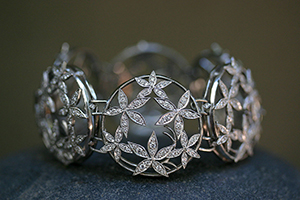 Recycled Platinum Geo Flower Bracelet with Ethically Sourced Diamonds, flex, link, petals, cut out