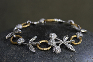 22K Recycled Gold and Platinum Cherry Bracelet with Ethically Sourced Diamonds, mixed metal, link, flex, branch, nature, organic, leaf, leaves, fruit