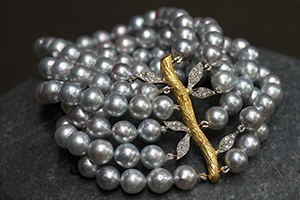 22K Recycled Gold and Platinum 6 Strand Jeweled Branch Bracelet with Ethically Sourced Natural Silver Akoya Pearls and Diamonds, leaf, leaves, nature, organic, mixed metal, flex