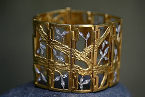 22K Recycled Gold and Platinum Shoji Screen Bracelet with Ethically Sourced Diamonds, mixed metal, flex, link, branch, leaf, leaves, nature, organic, japanese