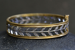 22K Recycled Gold and Platinum Wheat Bangle with Ethically Sourced Diamonds, leaf, leaves, nature, mixed metal, organic, milgrain