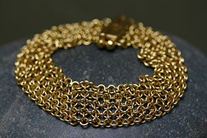 22K Recycled Gold 9-Row Chain Mail Bracelet, chainmail, link, yellow, mesh
