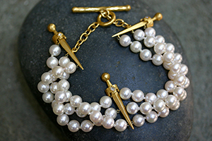 22K Recycled Gold Sword Bracelet with Ethically Sourced Pearls and Diamonds, beaded, beads, pearl