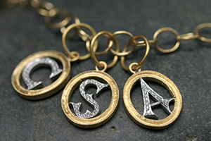 22K Recycled Gold and Platinum Double Milgrain Initial C, S, A Charms with Ethically Sourced Diamonds on 22K Gold Lacy Chain. mixed metal, monogram, heirloom, alphabet, charm, pendant, yellow
