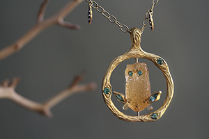 22K Recycled Gold Owl in Tree Pendant with Ethically Sourced Citrine Owl, Emeralds, Sapphires and Tourmaline on 22K Recycled Gold and Platinum Tiny Lacy Diamond Fringe Chain, charm, branch, yellow, colored stone, nature , organic, mixed metal