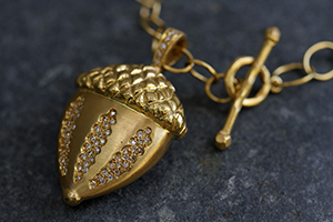 22K Recycled Gold Acorn Pendant with Ethically Sourced Diamonds on 22K Gold Lacy Chain, yellow, charm, nature, organic