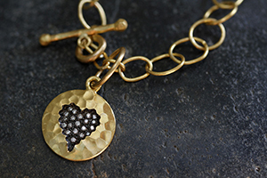 22K Recycled Gold Hammered Heart Charm with Ethically Sourced Diamonds on 22K Gold Lacy Chain, pendant, yellow