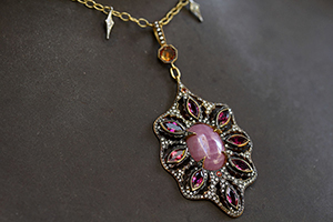 22K Recycled Gold Leaf Pendant with Ethically Sourced Pink Sapphire Cabachon, Tourmaline, Sapphires and Diamonds on 22K Gold and Platinum Tiny Lacy Diamond Fringe Chain, charm, colored stone, nature, organic, mixed metal, colored, stained glass