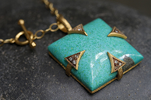 22K Recycled Gold Arrow Prong Pendant with Ethically Sourced Turquoise and Diamonds on 22K Gold Tiny Lacy Chain, charm, colored stone, colored, thorn