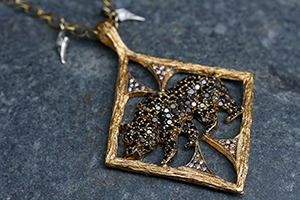 22K Recycled Gold California Black Bear Pendant with Ethically Sourced Diamonds on 22K Gold and Platinum Tiny Diamond Fringe Chain, charm, animal, nature, mixed metal, branch, thorn