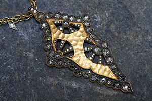 22K Recycled Gold Scalloped Kite Pendant with Ethically Sourced Rose Cut and White Diamonds on 22K Gold and Platinum Double Tiny Lacy Diamond Fringe Chain, hammered, charm, rose cut, mixed metal, cut out