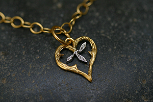 22K Recycled Gold and Platinum Branched Heart Charm with Ethically Sourced Diamonds on 22K Gold Tiny Lacy Chain, pendant, leaf, leaves, heirloom, nature, organic, yellow, mixed metal