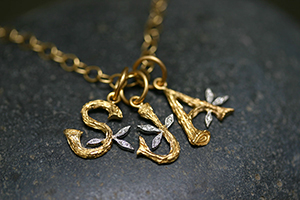 22K Recycled Gold Jeweled Branch Initials S, J, A Charms with Ethically Sourced Diamonds on 22K Gold Tiny Lacy Chain, charm, pendant, heirloom, monogram, leaf, leaves, nature, organic, mixed metal