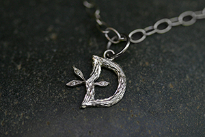 "Recycled Platinum Jeweled Branch Initial ""D"" with Ethically Sourced Diamonds, monogram, pendant, leaf, leaves, heirloom"