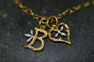 """22K Recycled Gold and Platinum Jeweled Branch Initial """"B"""" and Branched Heart Charms with Ethically Sourced Diamonds on 22K Gold Tiny Lacy Chain, pendant, leaf, leaves, monogram, heirloom, nature, organic, yellow, mixed metal"""