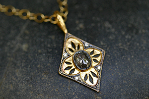 22K Recycled Gold Diamond Charm with Ethically Sourced Rustic and Diamonds on 22K Gold Tiny Lacy Chain, geometric, pendant, yellow, hammered, cut-out, leaf, leaves, cut out, shield