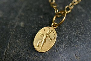 22K Recycled Gold Juggler Charm on 22K Gold Tiny Lacy Chain, muse, talisman, character, trait, pendant