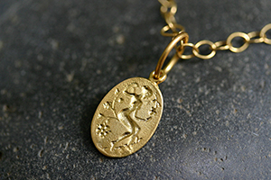 22K Recycled Gold Goddess Charm on 22K Gold Tiny Lacy Chain, muse, talisman, character, trait, pendant