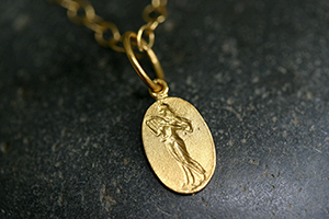 22K Recycled Gold Muse Charm on 22K Gold Tiny Lacy Chain, muse, talisman, character, trait, pendant