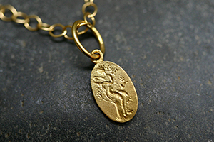 22K Recycled Gold Sprite Charm on 22K Gold Tiny Lacy Chain, muse, talisman, character, trait, pendant