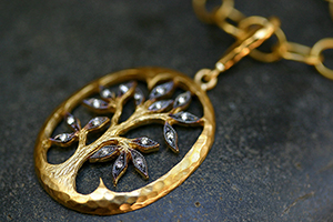 22K Recycled Gold Blackened Tree of Life Pendant with Ethically Sourced Diamonds on 22K Gold Lacy Chain, leaf, leaves, yellow, charm, organic, nature, family tree
