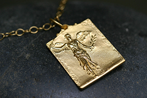 22K Recycled Gold Winged Woman with Olive Branch Pendant on 22K Gold Tiny Lacy Chain, yellow, charm, angel