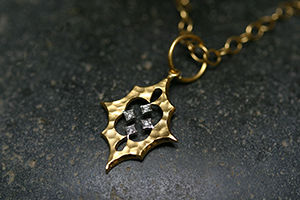 22K Recycled Gold and Platinum Small Scimitar Pendant with Ethically Sourced Diamonds on 22K Gold Tiny Lacy Chain, yellow, charm, hammered, mixed metal