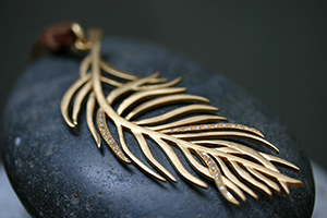 22K Recycled Gold Extra Large Feather Pendant with Ethically Sourced Diamonds, yellow, charm, nature, organic, bird