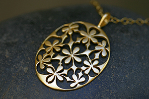 22K Recycled Gold Oval 4 Petal Lace Pendant on 22K Gold Tiny Lacy Chain, flower, yellow, charm, organic, nature