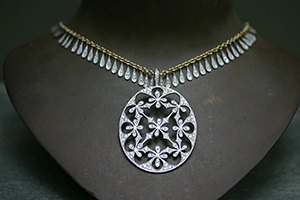 Recycled Platinum Oval 4 Petal Lace Pendant with Ethically Sourced Diamonds on 22K Gold and Platinum Leaf Fringe with Diamonds, charm, yellow, white, flower, nature, organic, mixed metal