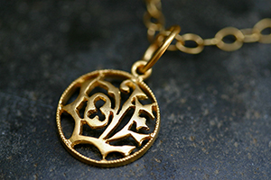 22K Recycled Gold Small LOVE Charm on 22K Gold Tiny Lacy Chain, yellow, pendant, necklace