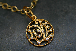 22K Recycled Gold Small LOVE Charm with Ethically Sourced Diamonds on 22K Gold Tiny Lacy Chain, yellow, pendant, necklace